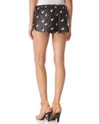 Love Leather - Black Flamingo Print Leather Shorts - Lyst
