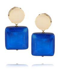Marni - Blue Goldtone Resin Clip Earrings - Lyst