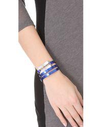 McQ - Blue Razor Triple Wrap Bracelet - Lyst