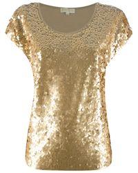 MICHAEL Michael Kors | Metallic Sequined Jersey Top | Lyst