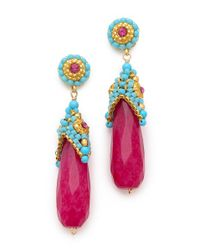 Miguel Ases | Pink Cup Beaded Earrings | Lyst