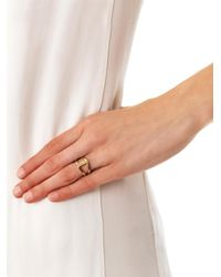 Noor Fares - Metallic Sapphire Yellow Gold Rhombus Ring - Lyst