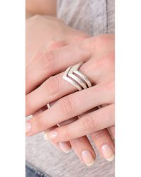 Rebecca Minkoff - Metallic V Stackable Rings - Lyst