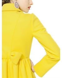 RED Valentino - Yellow Wool Cloth Coat - Lyst