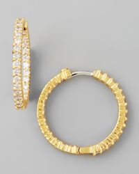 Roberto Coin - Metallic 25Mm Yellow Gold Diamond Hoop Earrings - Lyst