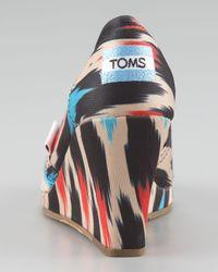 TOMS - Black Ikat-print Peep-toe Wedge - Lyst