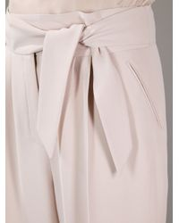 Valentino - Natural Straight Leg Belted Trouser - Lyst