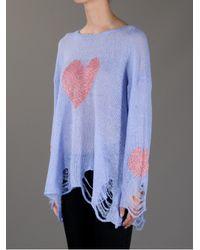Wildfox | Purple Happy Heart Sweater | Lyst