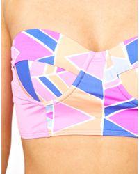 Zinke - Brown Bustier Bikini Top with Chevron Print - Lyst