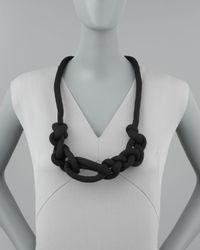 Donna Karan - Black Lightweight Knotted Necklace  - Lyst