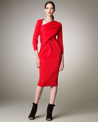 Donna Karan | Red Asymmetric Knit Dress | Lyst