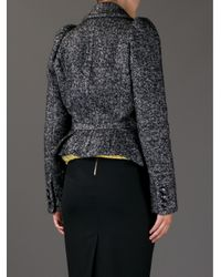 DSquared² - Black Herringbone Cropped Jacket - Lyst