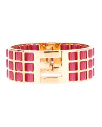 Fendi - Pink Woven Leather Brass Cuff - Lyst