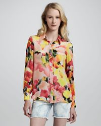 Haute Hippie - Multicolor Floralprint Button Down Blouse - Lyst