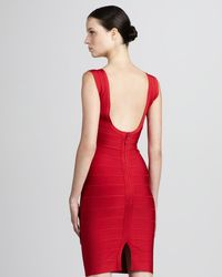 Hervé Léger - Red V-neck Bandage Dress - Lyst