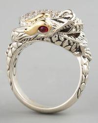 John Hardy - Metallic Pave Diamond Dragon Ring Small - Lyst