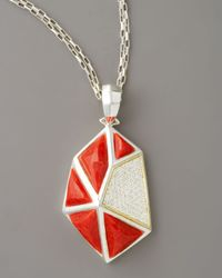 Kara Ross | Metallic Faceted Coral Pendant Necklace Large | Lyst