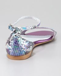 Stella McCartney - Purple Fauxsnake Flat Anklewrap Sandal - Lyst