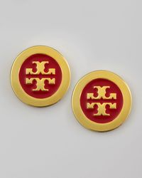 Tory Burch | Metallic Enamelfill Logo Earrings Lobster | Lyst