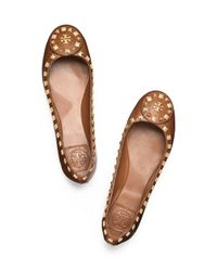 Tory Burch | Brown Dale Studded Ballet Flat | Lyst