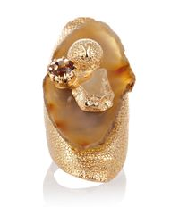 Saint Laurent - Metallic Chyc Agate and Crystal Ring - Lyst