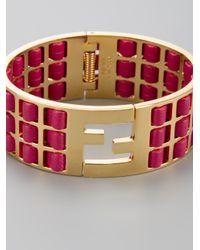 Fendi - Pink Woven Leather Brass Cuff - Lyst