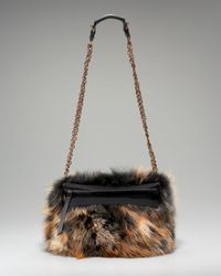 Lanvin | Brown Fur Trousse Shoulder Bag | Lyst