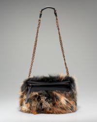 Lanvin - Brown Fur Trousse Shoulder Bag - Lyst