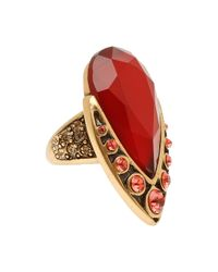 Oscar de la Renta | Red Teardrop Shape Stone Ring | Lyst