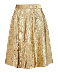 Temperley London - Metallic Sequined Silk Chiffon Skirt - Lyst