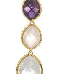 Monica Vinader - Gray Nugget Goldvermeil Multistone Earrings - Lyst
