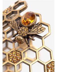 Alexander McQueen | Gold Honeycomb Bee Cuff Bracelet | Lyst