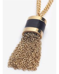 St. John - Metallic Tassel Pendant Necklace - Lyst