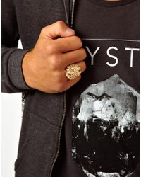 ASOS - Metallic Ring with Lion Design for Men - Lyst