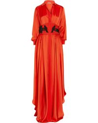 Bottega Veneta | Orange Silk-blend Maxi Dress | Lyst
