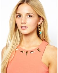 Ganni - Metallic Gogo Philip Chain and Stone Drop Earrings - Lyst