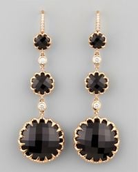 Ivanka Trump | Long Rose Gold Black Onyx And Diamond Drop Earrings On Diamond French Wire | Lyst