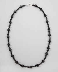 Ivanka Trump | Mixed Size Black Onyx Bead Necklace With Signature Oval Diamond Clasp | Lyst