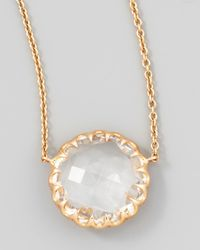Ivanka Trump - Metallic Rose Gold Chain Rock Crystal Pendant Necklace - Lyst