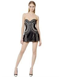 John Richmond - Black Intarsia Nappa Leather Bustier Dress - Lyst