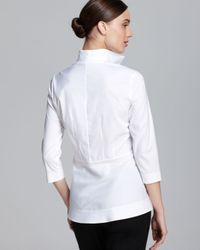 Lafayette 148 New York | White Elise Blouse with Novelty Stitch Detail | Lyst
