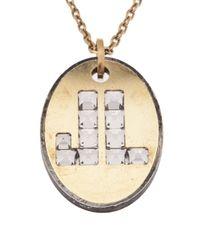 Lanvin - Metallic Jl Pendant Chain Necklace - Lyst
