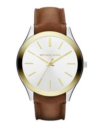 Michael Kors - Brown Slim Runway Leatherstrap Watch - Lyst