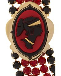 Miu Miu - Red Gold-Plated Crystal Cameo Necklace - Lyst