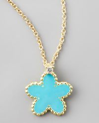 Roberto Coin | Blue Yellow Gold Diamond Turquoise Flower Pendant Necklace | Lyst