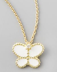 Roberto Coin | Yellow Gold Diamond White Butterfly Pendant Necklace | Lyst