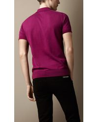 Burberry - Purple Pima Cotton Polo Shirt for Men - Lyst