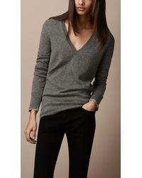 Burberry | Gray Check Cuff Cashmere Sweater | Lyst