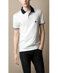 Burberry | White Contrast Collar Polo Shirt for Men | Lyst