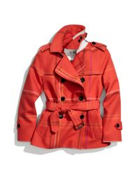 COACH   Red Tattersall Short Trench   Lyst
